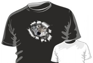 RIPPED TORN METAL Design With Cute Wolf Wolves Face Eyes Motif mens or ladyfit t-shirt